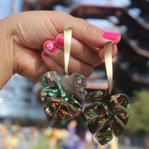 NEW Handmade Earrings |Green Acrylic Tropical Leaf